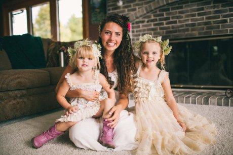 Flower Girls wearing Queen Anne's Lace